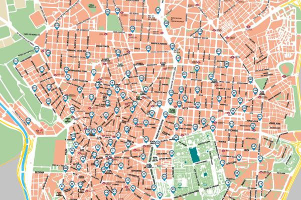 Mapa de estaciones de bicicletas eléctricas BiciMAD en Madrid
