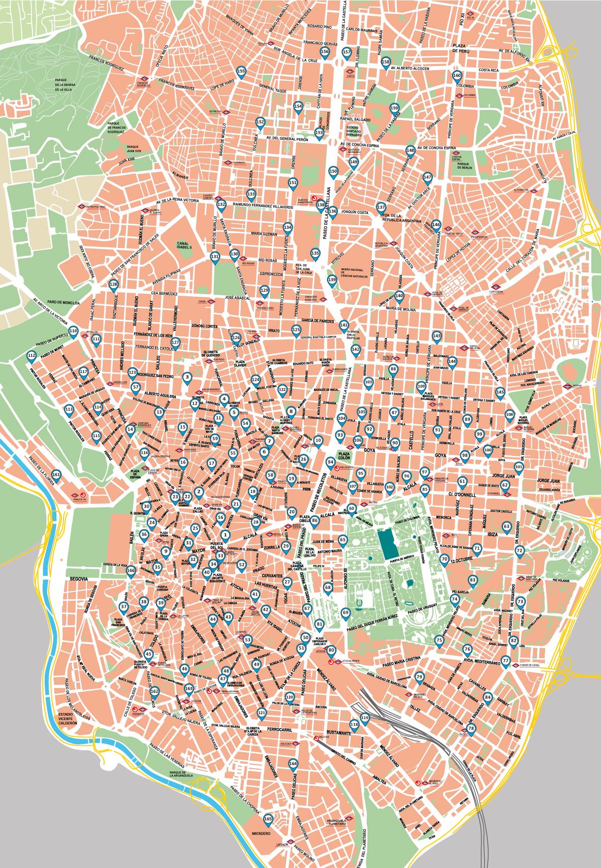 Mapa de estaciones de bicicletas eléctricas BiciMAD-Madrid